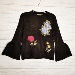Sweaters - Black Floral Embroidered Bell Sleeve Soft Sweater